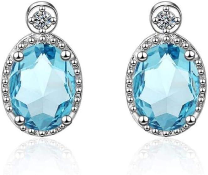 Joyas de Piedras Preciosas de Aguamarina ovaladas para Mujer con Pendientes ovalados de Plata 925