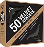 Closet Complete Premium Heavyweight, Velvet Shirt Hangers – Ultra-Thin, Space Saving, No-Slip, Best For Shirts & Dresses - Black, Set of 50