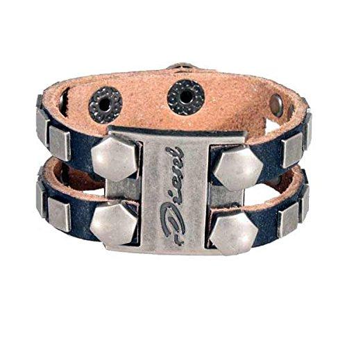 Bracelet logo Double Rivet bande Noir Bracelet en cuir