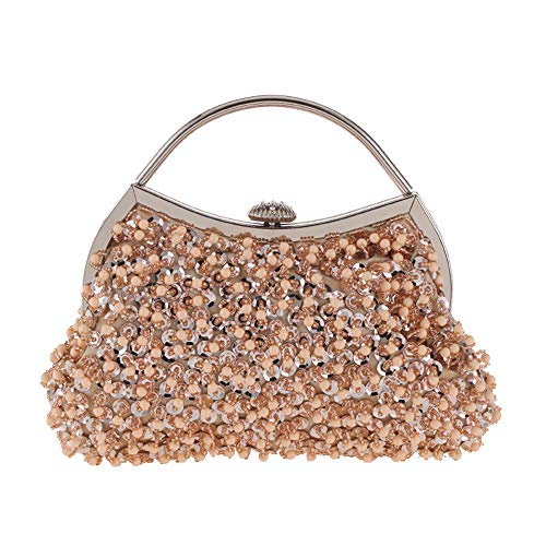 Evening Prom Wedding Vintage Party Ladies Beaded Handbag Crossbody Bridal MMYOMI Gold Bag Clutch Sequin TYnPdIq