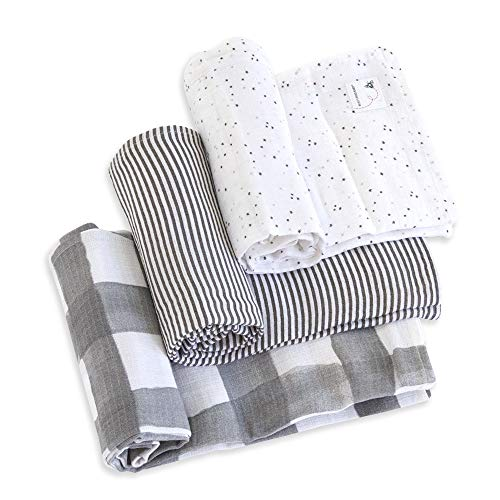 Burts Bees Baby - Swaddles, Muslin Cotton Baby Blankets, 3-Pack, Multipurpose Lightweight & Breathable 100% Organic Cotton (Starry Eyes)