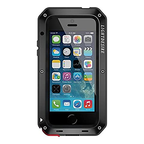 LIGHTDESIRE Water Resistant Shockproof Aluminum Military Bumper Shell Case for iPhone 6/6S - Black (Iphone 6 Plus Military Metal Case)