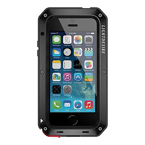 LIGHTDESIRE iPhone 5SE Case Aluminum Alloy Protective Metal Extreme Water Resistant Shockproof Military Bumper Heavy Duty Cover Shell - Black (Iphone 5 Metal Case)