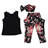 SODIAL(R) New baby girls summer set with headband 3 pcs set cloth set girls clothing suit children clothing set 3T