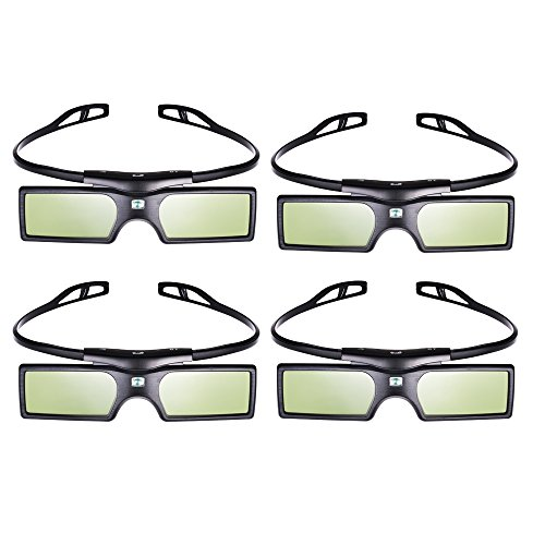 Pergear® 3D Active Shutter Glasses Bluetooth Eyewear Glasses for Samsung/SONY/Panasonic/Konka/LG/Toshiba Bluetooth 3D TVs (4 PCS)
