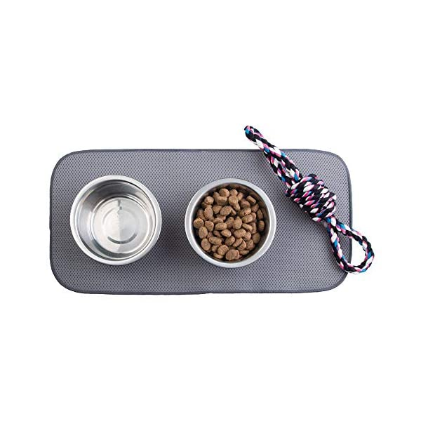 mDesign Premium Quality Microfiber Polyester Pet Food and Water Bowl Feeding Mat for Dogs - Ultra Absorbent Reversible Placemat - Folds for Compact Storage - Small 6