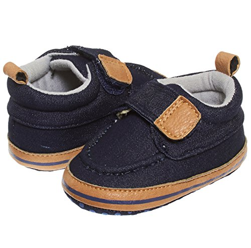 Baby Boat Shoes (Barehugs Infant Baby Boys Navy Slip On Loafer Shoes With Velcro Strap Navy/Denim Age 6-12)