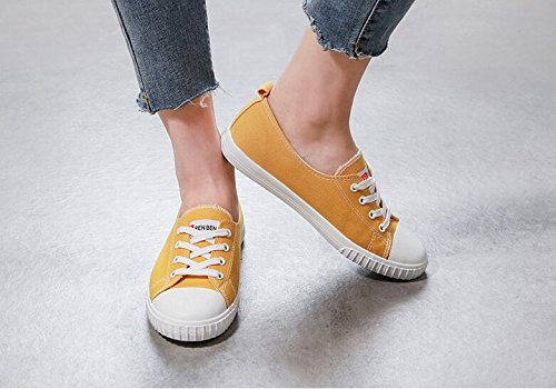 de Calzado Mujer Bottom Casual Koyi Alpargatas Zapatos Retro Para Inferior Zapatillas Estudiante Pumps Lona Yellow qYYf8x5