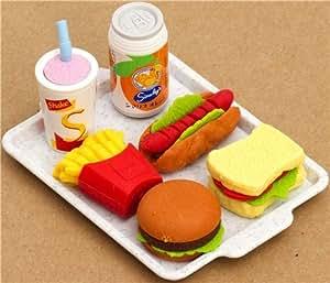 Gomas de borrar Iwako, set 6 unidades, forma de Fast Food