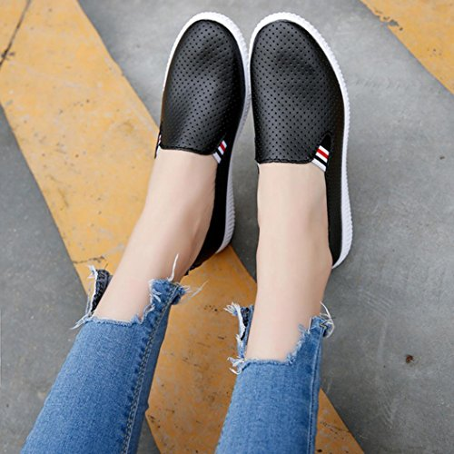 IGEMY Damen Frauen aushöhlen Schuhe runde Zehe-Plattform-flache Ferse-Beleg auf beiläufigen Schuhen Schwarz