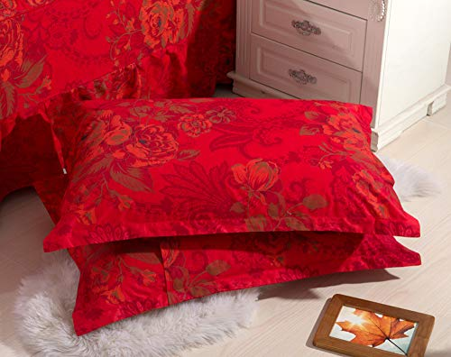 - TEALP Red Floral Pillow Cases Luxury Baroque Pillow Shams Red Vintage Flowers Pattern Printed Soft Cotton Pillow Covers Arabesque Damask Paisley Pattern Queen Size, 20x30 Inches Envelop Closure