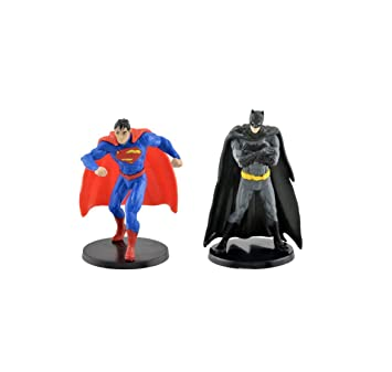 2 Batman Superman Cake Toppers Superheroes Birthday Party Decoration Toy Justice League