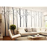 Set of 4 Wall Decal Big Birch Tree Living Room Wall Art Decorative Nursery Vinyl Wall Sticker(Height:250cm)