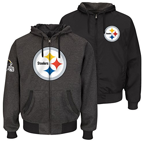 G-III Sports Pittsburgh Steelers NFL Extreme II Full Zip Reversible Hooded Jacket - Large by G-III Sports