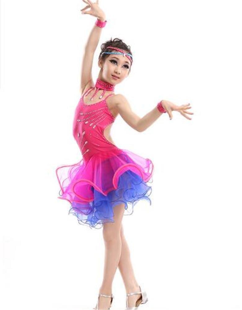 Rose peiwen Robe de Danse Latine pour Enfants Spectacle de scène Jupe de Danse pour Fille 140cm
