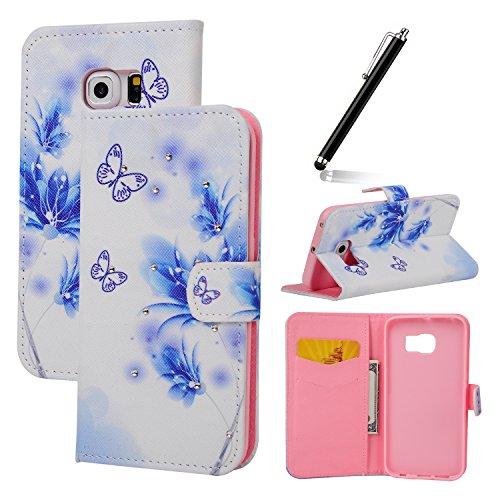 Funda para Galaxy Note 5, Flip funda de cuero PU para Galaxy Note 5, Galaxy Note 5 Leather Wallet Case Cover Skin Shell Carcasa Funda, Ukayfe Cubierta de la caja Funda protectora de cuero caso del sop Crystal:Blue Flower