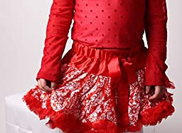 Red Girls Damask Pettiskirt, Size 3/4