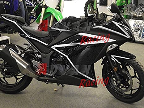 Moto Onfire ABS Injection Mold Bodywork Plastic Fairings Kit For 13 14 15 16 Kawasaki Ninja 300 EX300R ZX300R (2013-2016) Black
