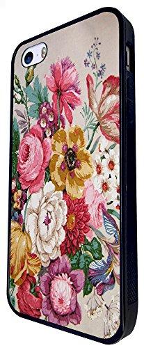 1333 - Cool Fun Trendy Cute Kawaii Flower Floral Collage Wallpaper Design iphone SE - 2016 Coque Fashion Trend Case Coque Protection Cover plastique et métal - Noir