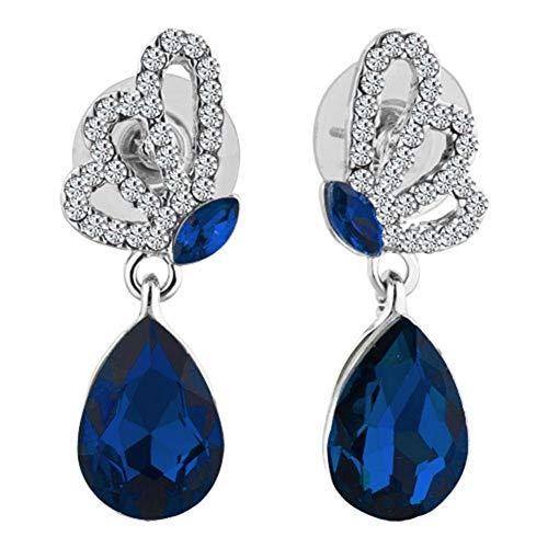 (JewelryJo Stud Dangle Statement Chandelier Earrings Women Sapphire Blue Birthstone Drop CZ Crystal Copper With Gift)