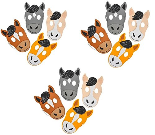 Novelty Treasures Horse Masks - 12 Pack FRIENDLY Halloween and Birthday Party Mask