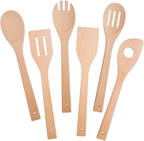 Set 6 Spoon Utensil Wooden Bamboo New Kitchen Mixing Pieces Spatula Cooking