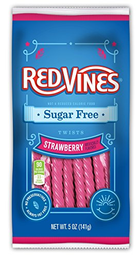 - Red Vines Sugar Free Licorice, Strawberry Flavor, Soft & Chewy Candy Twists, 5oz Bags (12 Pack)