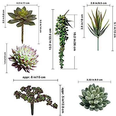 Supla Pack of 6 Assorted Artificial Succulents Plant Picks Textured Faux Succulent Pick Succulent Stems Fake Succulent Bouquet String of Pearls Succulent Faux Succulent Floral Arrangement Accent