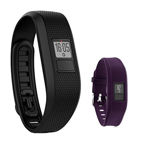 Garmin Vivofit 3 Activity Tracker Fitness Band - Regular Fit (Black) with Extreme Speed Silicone Replacement Wrist Band Strap (Purple) Extreme Activity