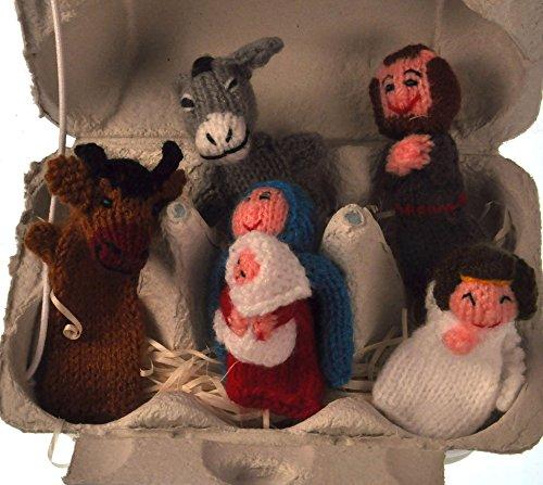 Noël to Go–5fait à la main Ensemble de marionnettes dans un Oeuf Boîte