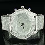 Maxx White Classy Hip Hop Lab Diamond Watch King Bling Pave Set Iced Band