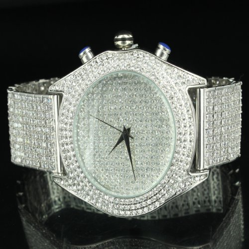 Maxx White Classy Hip Hop Lab Diamond Watch King Bling Pave Set Iced Band by Diamond & Co.