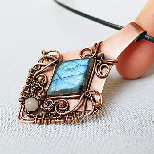 Amazon Com One Of A Kind Wire Wrapped Blue Labradorite Pendant On