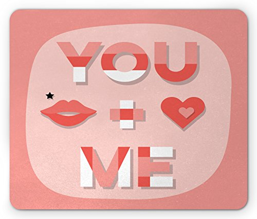 Lips Xoxo Kiss (Lunarable You and Me Mouse Pad, Romantic Saying with Lips Hearts Kisses Xoxo Celebration Theme, Standard Size Rectangle Non-Slip Rubber Mousepad, Coral Pale Pink and White)