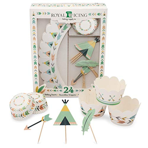 Boho Party Cupcake Decorating Kit 72-Pieces Includes Arrow, Teepee, and Feather Toppers, Tribal and Bohemian Wrappers, and Wild One Baking Liners ()