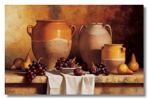 Confit Jars with Fruit by Loran Speck Traditional Museum Wrapped Canvas Art Print 38 x 24 Inches on (Confit Jar)