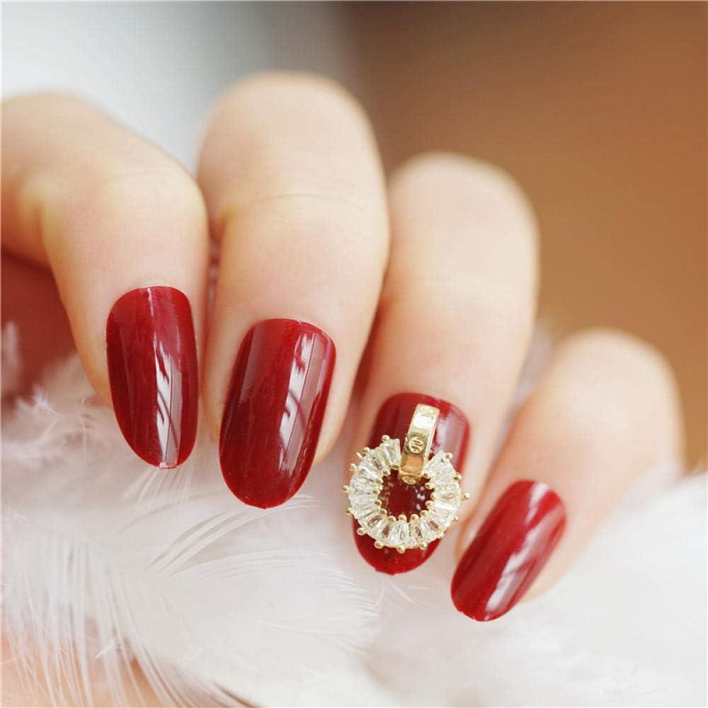 YFLDK Anillo de diamantes rojo vino Red ins wind Novias europeas y americanas Japón y Corea del Sur usan parches de uñas falsas para uñas