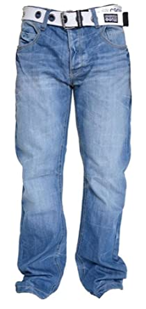 306357a3904 Crosshatch Mens Denim Jeans Trousers with Free Canvas Belt (30W X 34L,  Light Wash