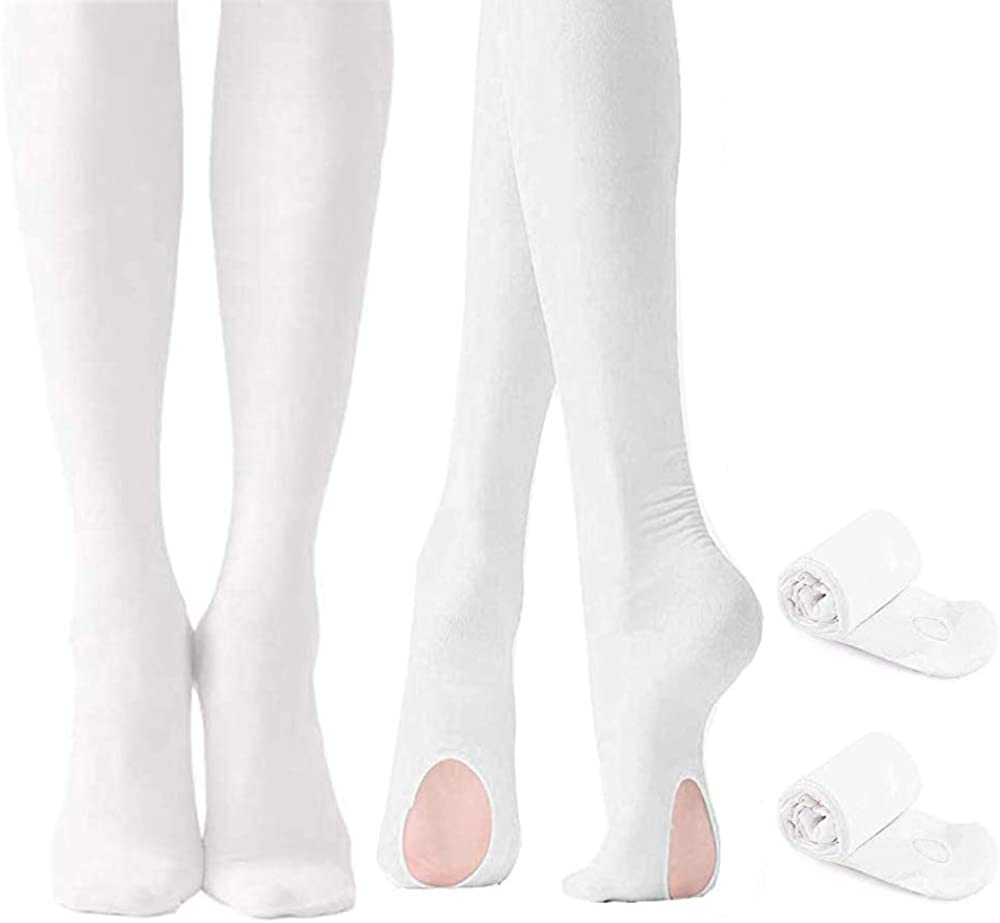 ILEUU Girls Ultra Soft Pro 2 Pairs Dance Tights for Girl Women Ballet Footed Daily Student Tights