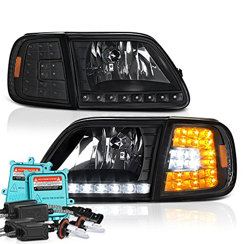 enon HID Low Beam] VIPMOTOZ LED Strip Headlight & Turn Signal Corner Lamp For 1997-2003 Ford F-150 & Expedition - Matte Black Housing, Driver and Passenger Side ()