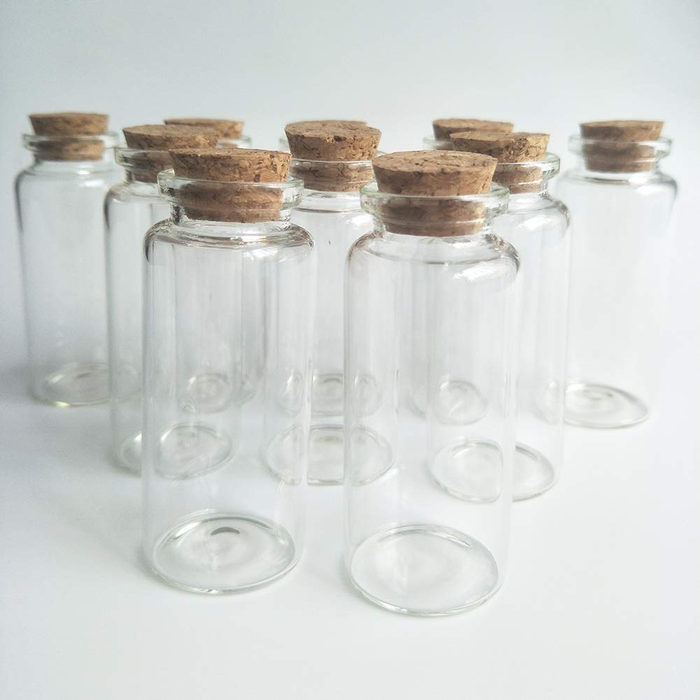 Luo House 10Pcs 30x80mm 40ml Clear Wishing Bottle Glass Jars with Cork Stoppers Small Glass Bottles for Wedding favors