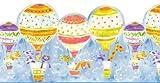 Wallpaper Border Fun Bright Kids Childs Pets in Hot Air Balloons Dogs Giraffe