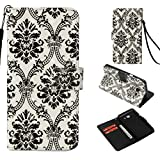 Galaxy J3 2017 Case,Flip Anti Sliding Lightweight Credit Card Holder Full Cover with Card Premium Pu Leather with Inner Bumper Shock Absorbent Kickstand Case for Samsung Galaxy J3 2017 -Black Lace