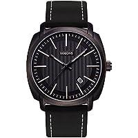 Voeons Men's Analog Quartz Watches Big Face Black Genuine Leather Wrist Watch 30M Waterproof Auto Date Business Casual Watch