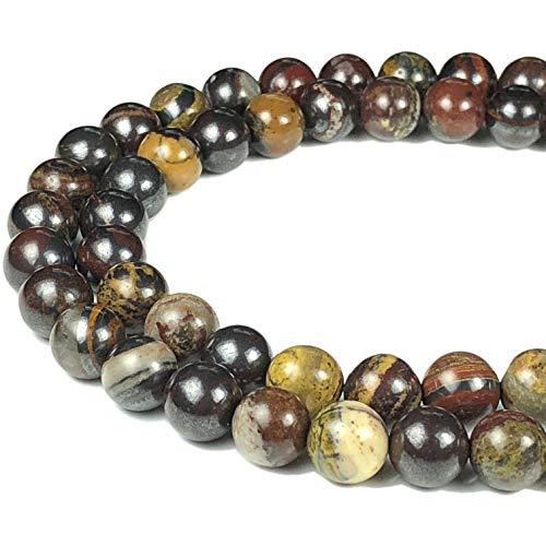([ABCgems] Australian Sunset Tiger Iron (Combination of Black Hematite, Tiger's Eye & Red Jasper) 8mm Smooth Round Beads for Beading & Jewelry)