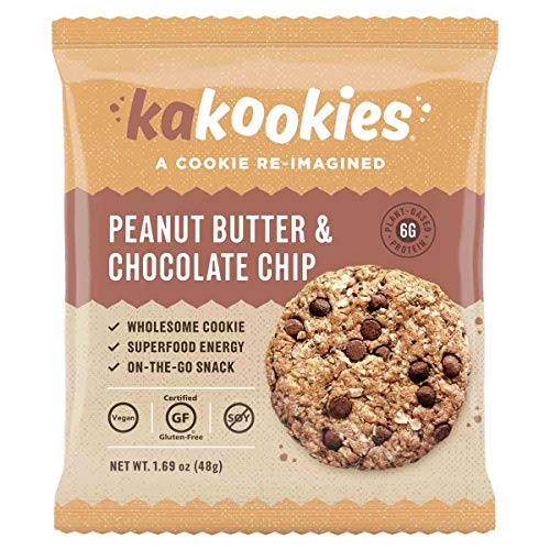 - Kakookies Energy Cookies - Peanut Butter Chocolate Chip (Box of 1 Dozen Cookies) - Vegan, Gluten-Free, Soft-Baked Superfood Snack Cookies