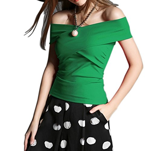 Maggie Tang Off Shoulder Trendy Fitted Cross Modal Blouse Top T-shirt Green Size L