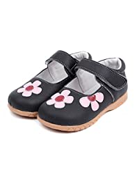Femizee Fashion Leather Velcro Flats shoes Mary Jane Shoes for Toddler Girls