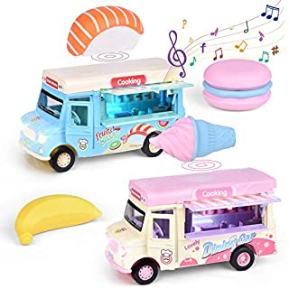 FUN LITTLE TOYS 2 Pack Ice Cream Pull Back Truck with Light and Sounds, Metal Diecast Cars for Toddler, Play Food Trucks for Girls