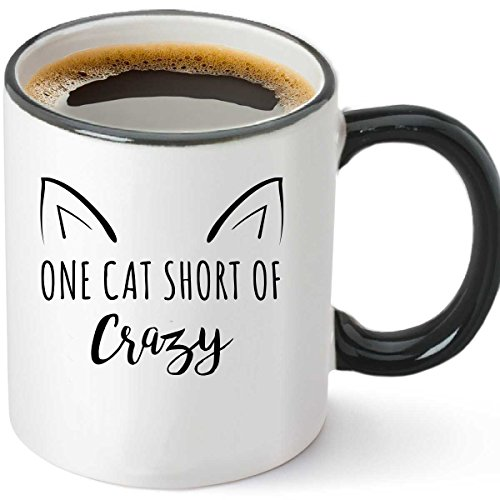 One Cat Short Of Crazy Funny Ceramic Coffee Mug 12oz - Uniqu